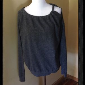 VINCE 100% cashmere cold shoulder GRAY M sweater